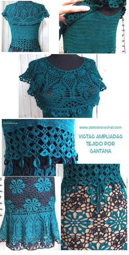conjunto falda y blusa crochet