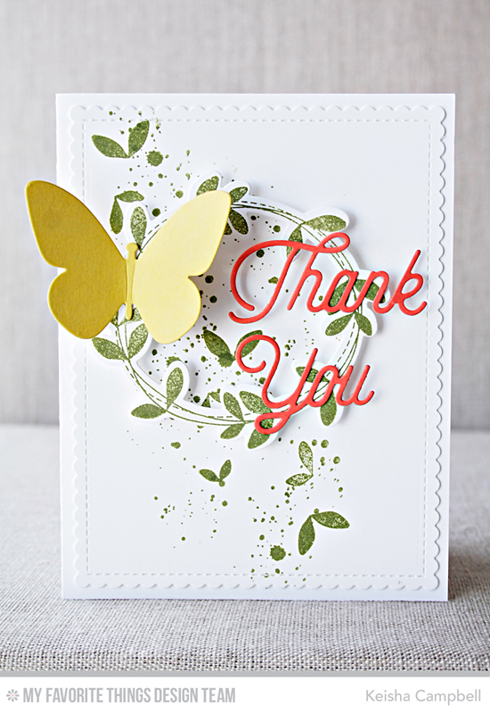 Butterfly Thank You Card by Keisha Campell featuring the Distressed Patterns stamp set , the Lisa Johnson Designs Spring Wreath stamp set and Die-namics, and the Flutter of Butterflies - Solid, Twice the Thanks, and Blueprints 27 Die-namics #mftstamps