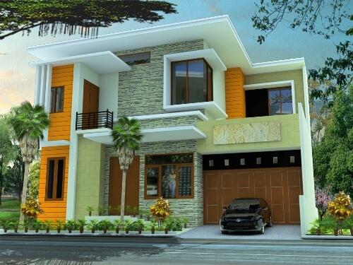Contoh Desain Interior Rumah Minimalis Modern Batu Alam Tampak Depan
