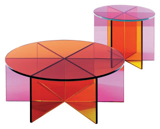 A Round Colored Glass Table