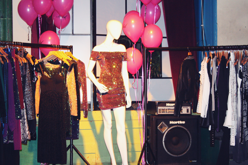 selection of motel rock's new collection on mannequins and clothing rails at their christmas event