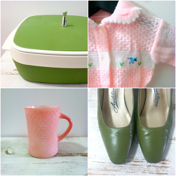 Brecks Vintage tupperware, pink dishes, green shoes and kids sweater