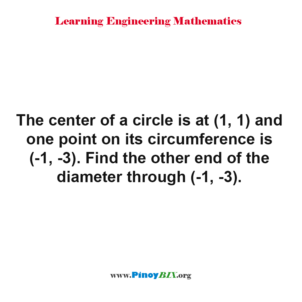Find the other end of the diameter through (-1, -3)
