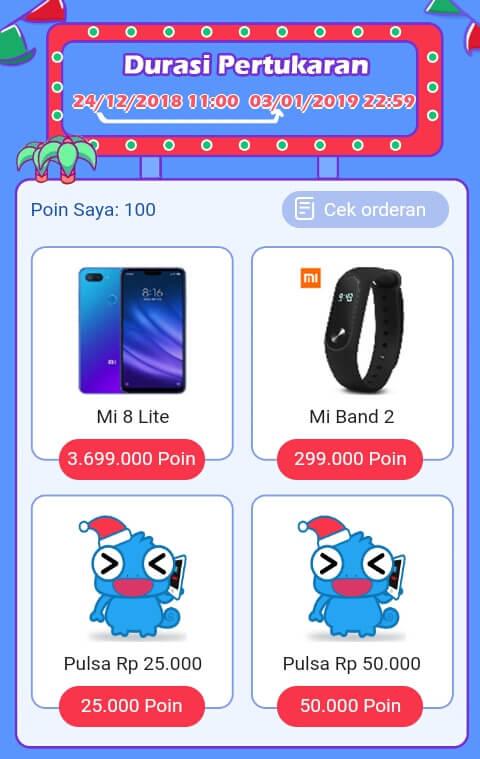 Kumpulkan Poin sebanyak-banyaknya hingga batas minimal penukaran Pulsa yaitu 25.000 Poin dan akan mendapatkan 25 ribu Pulsa All Operator. Atau hadiah yang sangat mahal yaitu Handphone Mi 8 Lite dengan menukarkan 3,699 Juta Poin.