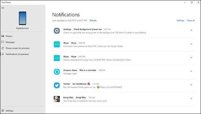يعرض تطبيق Phone Phone الخاص بك إشعارات متنوعة من Wyze و Alexa وإعدادات Android و twitter.