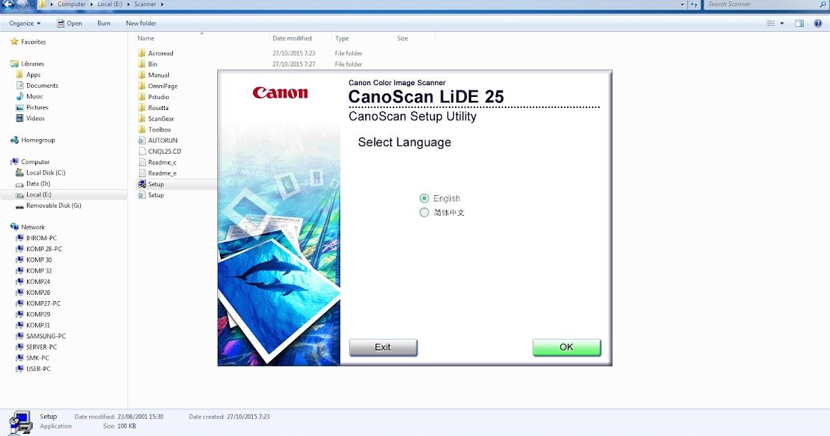 Langkah Menginstal Scanner Canon LIDE 25   Cintiya KKPI