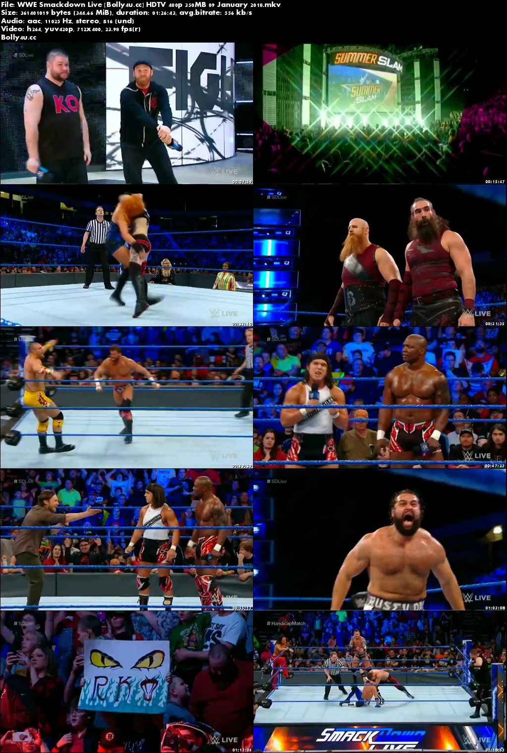 WWE Smackdown Live HDTV 480p 350MB 09 January 2018
