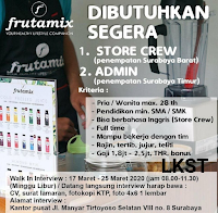 Walk In Interview di Frutamix Surabaya Maret 2020