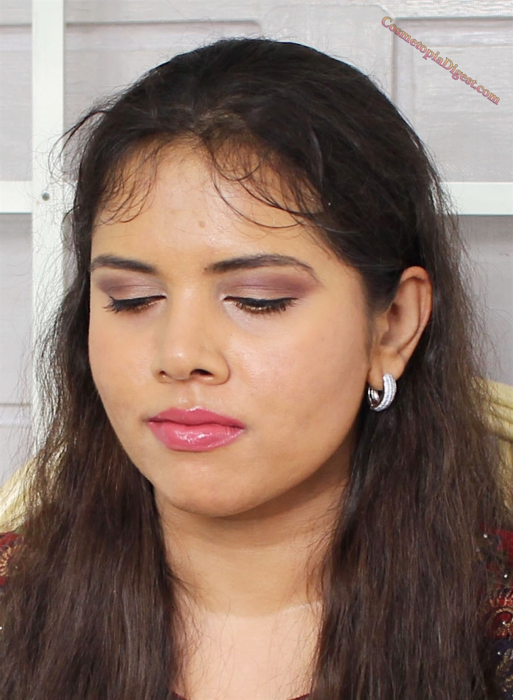 Full-face makeup look using Becca Shimmering Skin Perfector, Lorac Pro 3 eyeshadow palette, Giorgio Armani Maestro Foundation and Tom Ford lipstick.