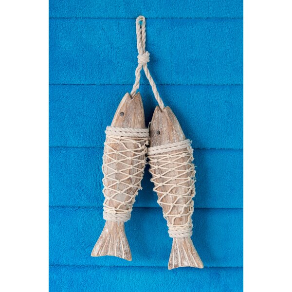 Handcrafted Hanging Fish in Net Wall Decor