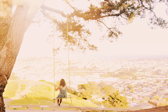 San Francisco Bucket List - enjoy the views from the top of Bernal Heights Park and snap a photo on the swing