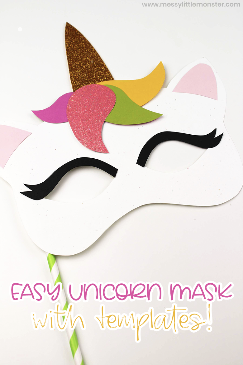 Easy unicorn mask craft for kids with unicorn mask template
