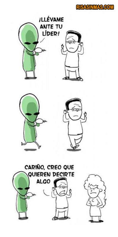 Meme de humor sobre contacto con alienígenas