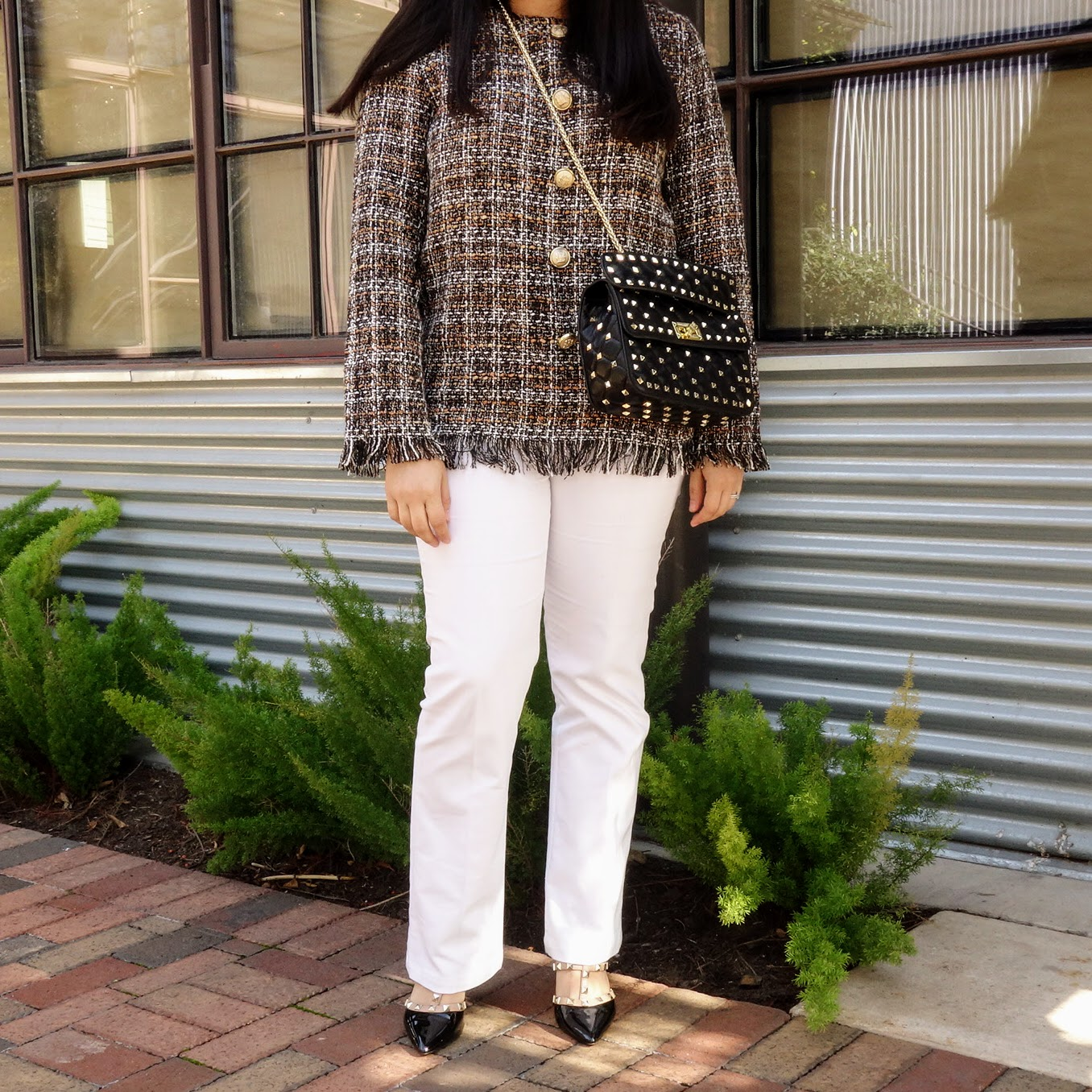 Tweed Jacket, Tweed Jacket Outfit, Studded Bag, Studded Shoes Outfit, White Pants, Winter Outfit,