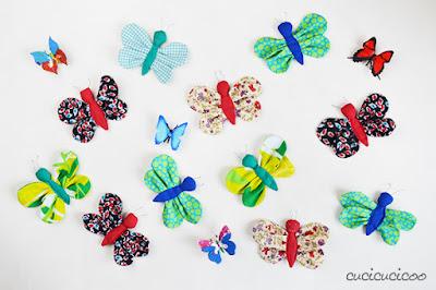 cucire delle farfalle decorative per bambine
