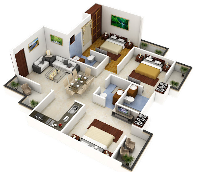 3d 3 bedroom apartment design ideas