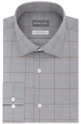 Men's Classic/Regular Fit Non-Iron Airsoft Stretch Performance Check Dress Shirt