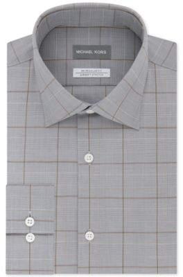 Men's Classic/Regular Fit Non-Iron Airsoft Stretch Performance Check Dress Shirt