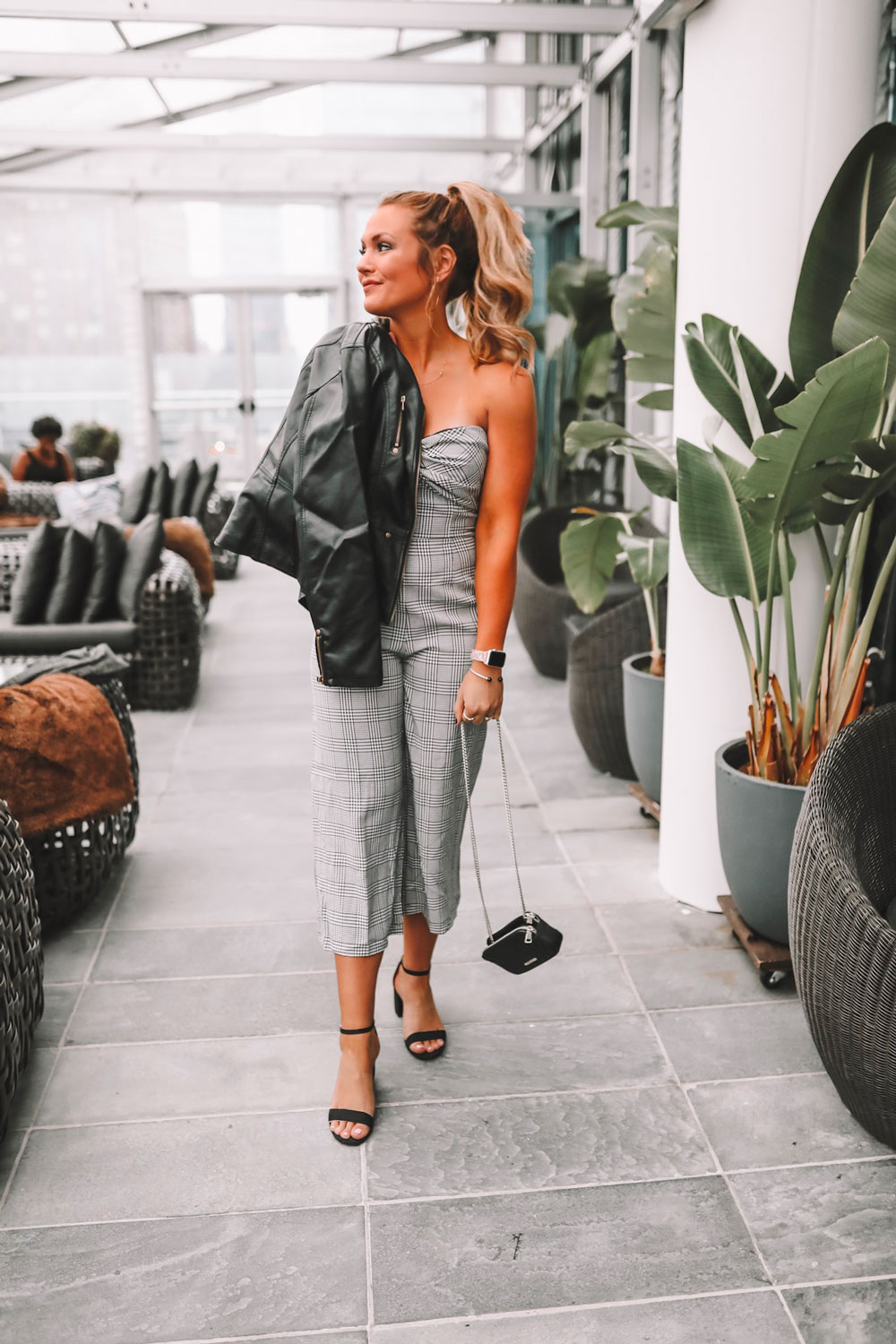 OKC blogger Amanda Martin dresses up a plaid jumpsuit for Fashion Week