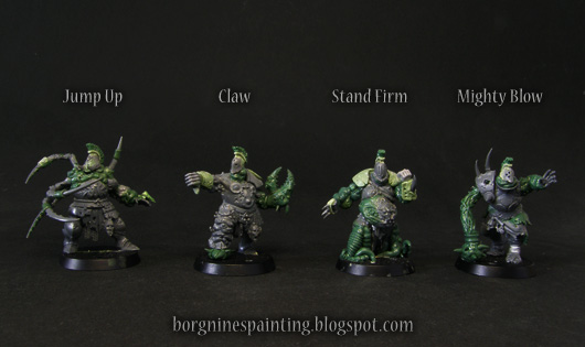 4 unpainted Bloaters of Nurgle miniatures for use in Blood Bowl, converted out of Putrid Blightkings using greenstuff. They are standing in a row and there's a text informing what kind of skills in the game they have.
