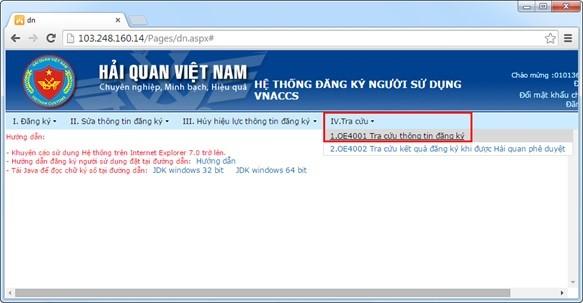 Hình 18 - Tra cứu thông tin đăng ký trên hệ thống VNACCS