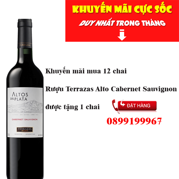 Phân Phối Rượu Vang Terrazas Alto Cabernet Sauvignon Khuyến Mãi