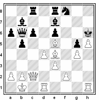 Posición de la partida de ajedrez Zakharov Fogelevic - Litvinov Verlinsky (URSS, 1937)