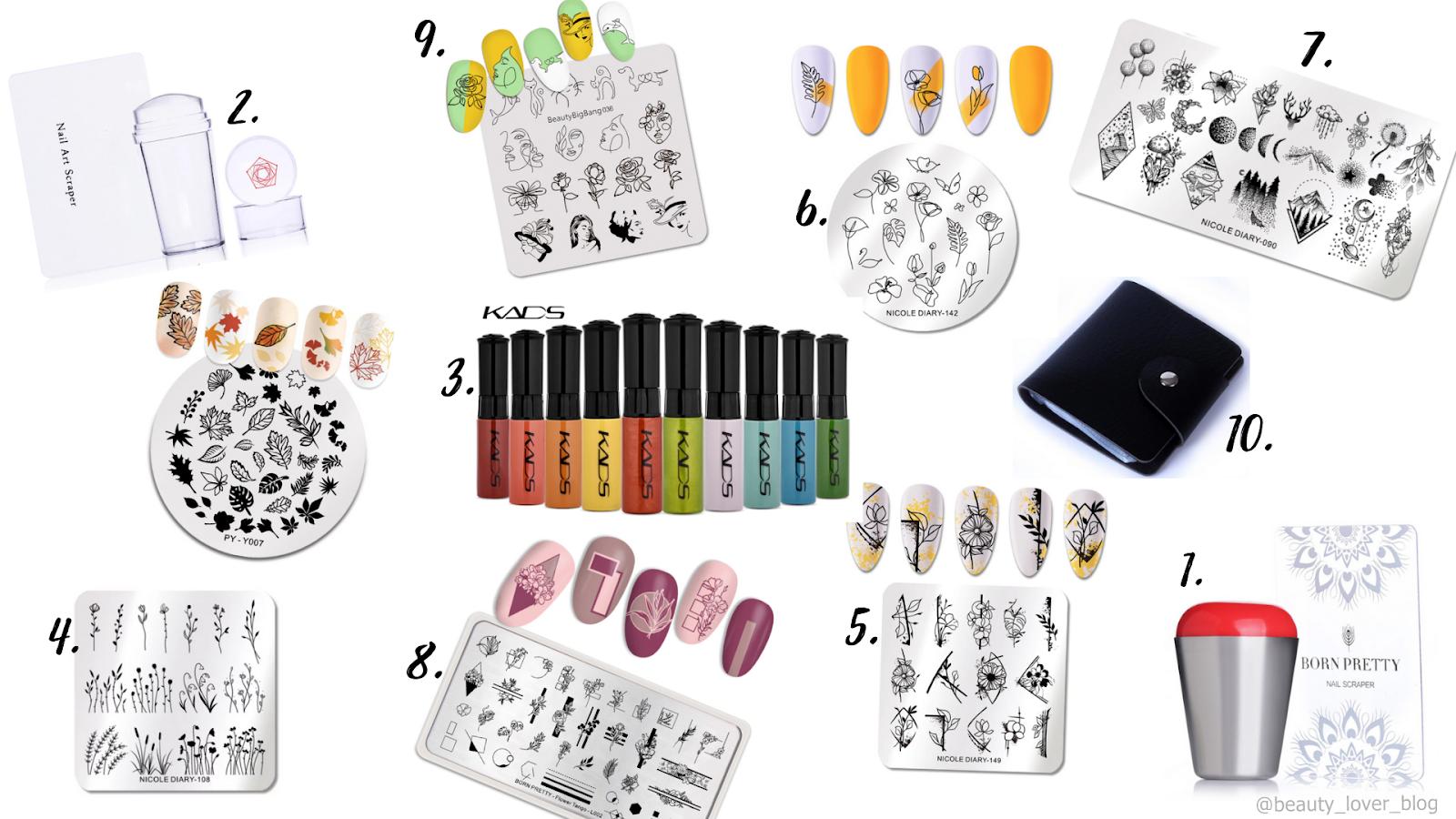 Akcesoria do paznokci z Aliexpress- płytki i stemple