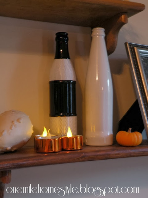 Black and White Painted Bottles with Halloween Decor