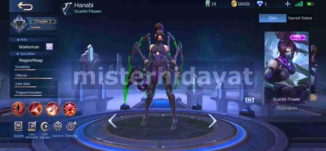 Mobile legends merilis skin terbaru untuk hero marksman dan kali ini giliran Hanabi yang Script Skin Venom Hanabi Epic Mobile Legends Patch Terbaru