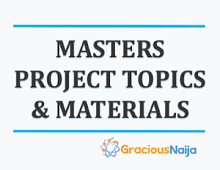 MASTERS PROJECT TOPICS IN EDUCATION