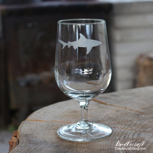Etched glass wine glass with great white shark