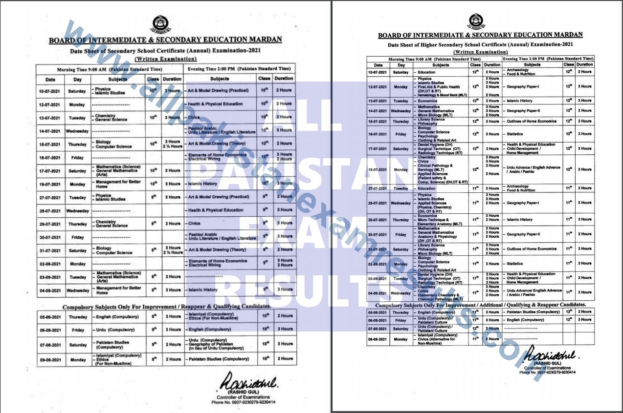 BISE Mardan Date Sheet Matric & Inter 2021 Annual Exam