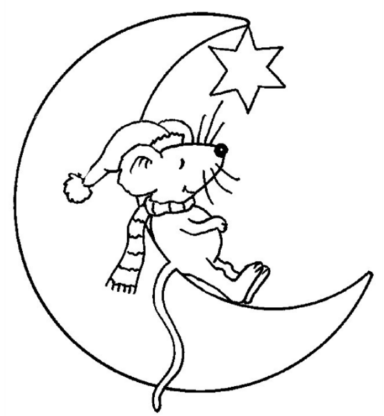 Tranh tô màu con chuột và mặt trăng