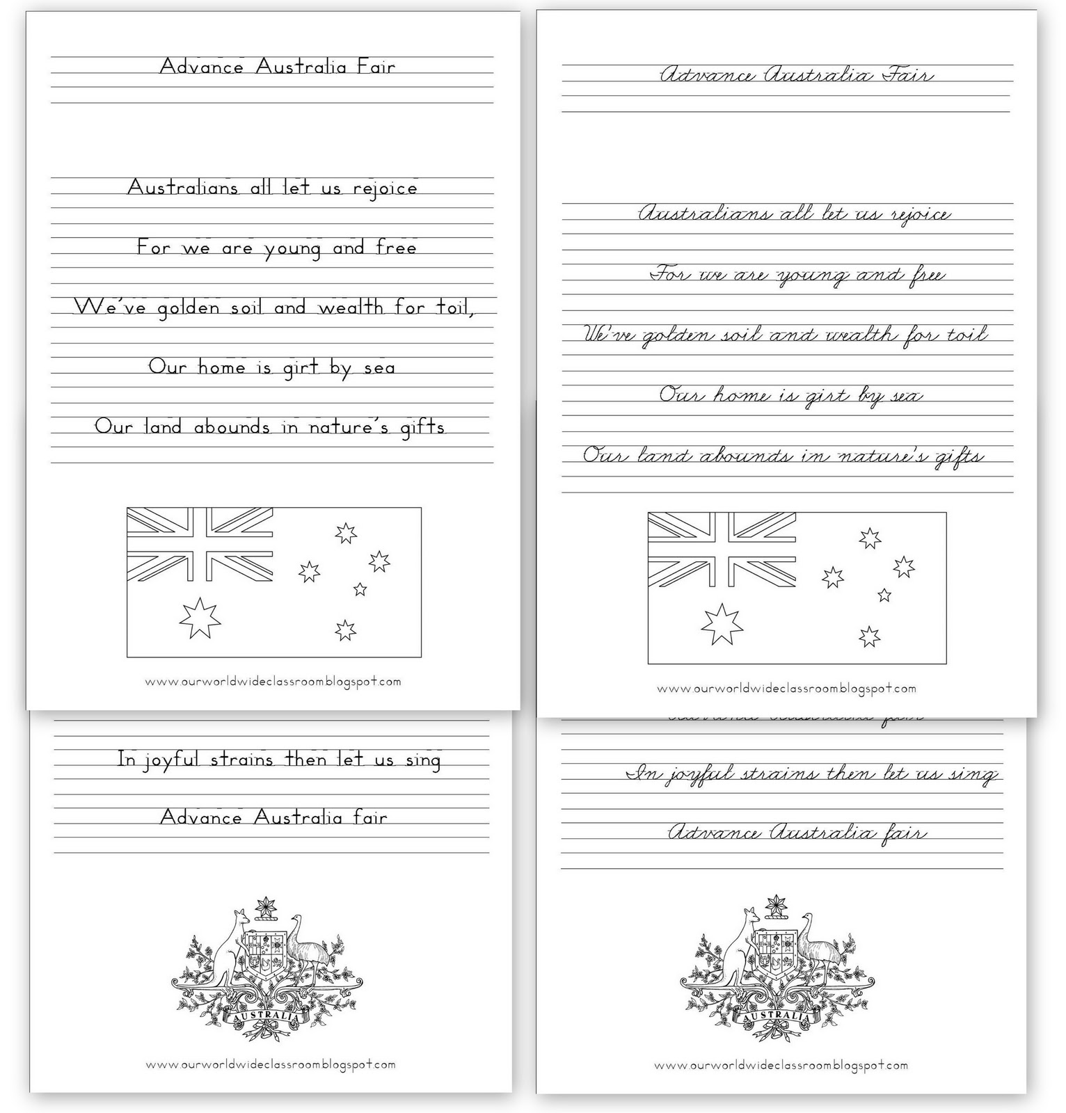 our worldwide classroom free printable australia day learning packet. Black Bedroom Furniture Sets. Home Design Ideas