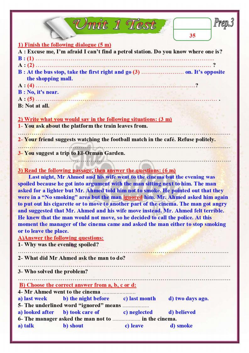 اقوى امتحان لغة الإنجليزية مجاب عنه على الوحدة الأولى الصف الثالث الإعدادى الترم الأول 2022 مستر محمد صلاح