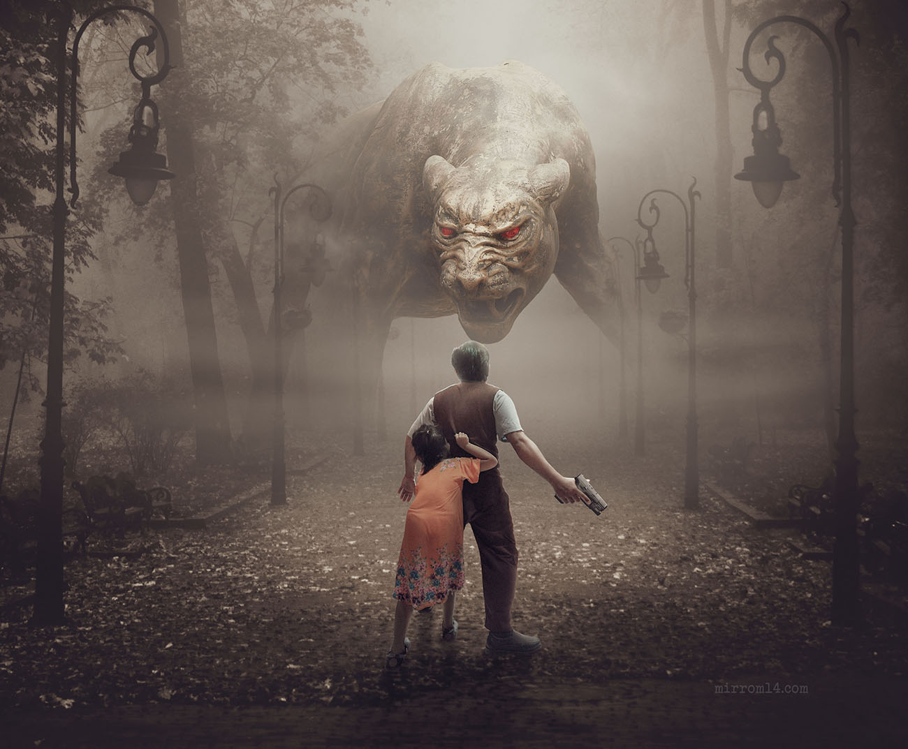 Create a Big Cat Demon Photo Manipulation With Vintage Color in Photoshop