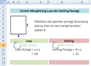 menghitung luas dan keliling persegi dengan rumus Excel