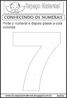 Numeral sete para colorir