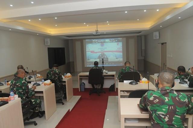 Kasdam IX/Udayana Mengikuti Rapat Koordinasi Persiapan Libur Panjang Antisipasi Pencegahan Dan Penularan Covid-19