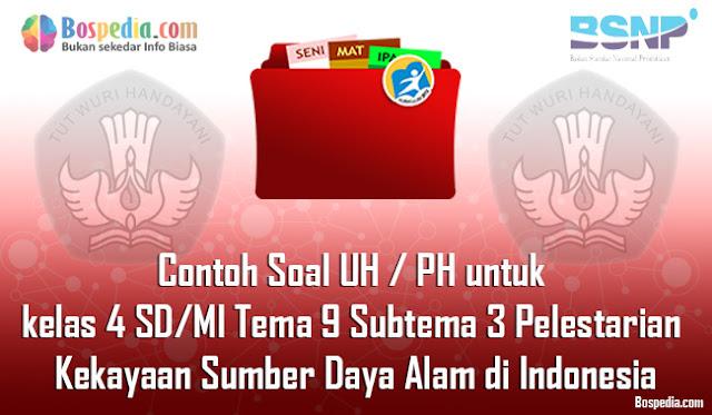 Contoh Soal UH / PH untuk kelas 4 SD/MI Tema 9 Subtema 3 Pelestarian Kekayaan Sumber Daya Alam di Indonesia