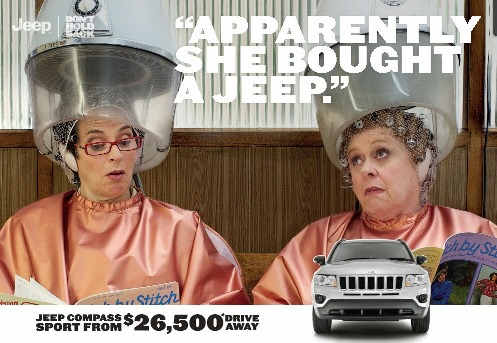 Jeep ad - a tongue in cheek look at what women do when they have some spare time and money.