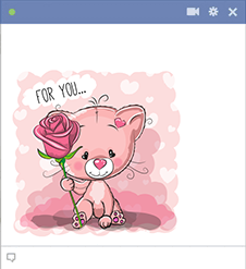 Kitty sticker with rose