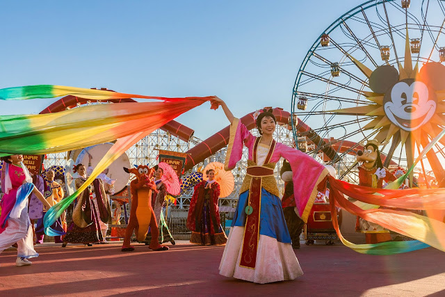 "Disneyland Resort in California welcomes a year of good fortune with Lunar New Year celebrations at Disney California Adventure Park from Jan. 17 - Feb. 9, 2020. Celebrating the Year of the Mouse, the limited-time festival features ""Mulan's Lunar New Year Procession,"" pictured here, plus ""Hurry Home - Lunar New Year Celebration"" prior to ""World of Color,"" a Lucky Wishing Wall, delectable foods and more."