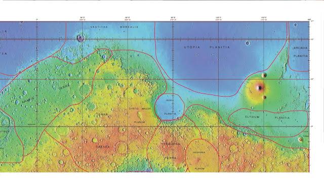 Mapa topográfico da Planície da Utopia e seus arredores