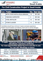 SAUDI JOBS : REQUIRED FOR A CIVIL CONSTRUCTION PROJECT IN SAUDI .g