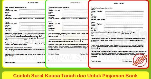 3 Contoh Surat Kuasa Tanah Doc Untuk Pinjaman Bank