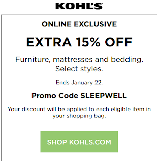 Kohls coupon 15% Off Furniture, Mattresses and Bedding