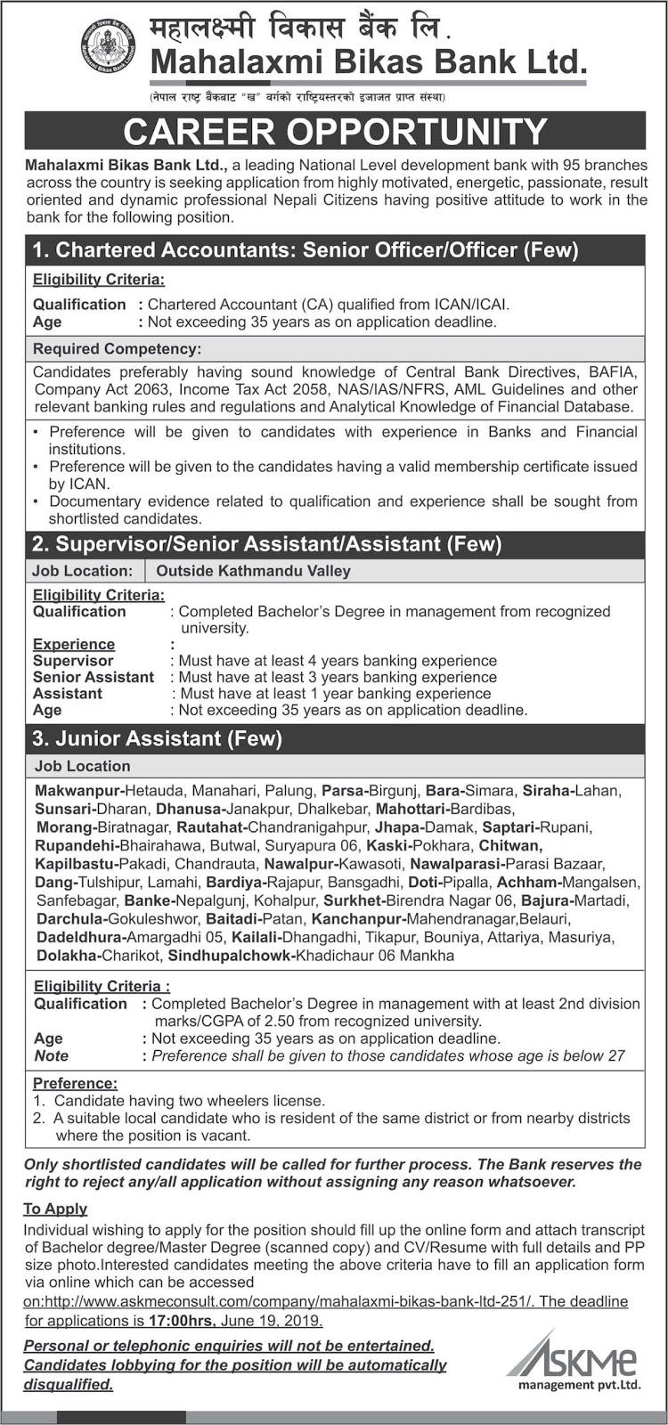 Vacancies at Mahalaxmi Bikas Bank Ltd.