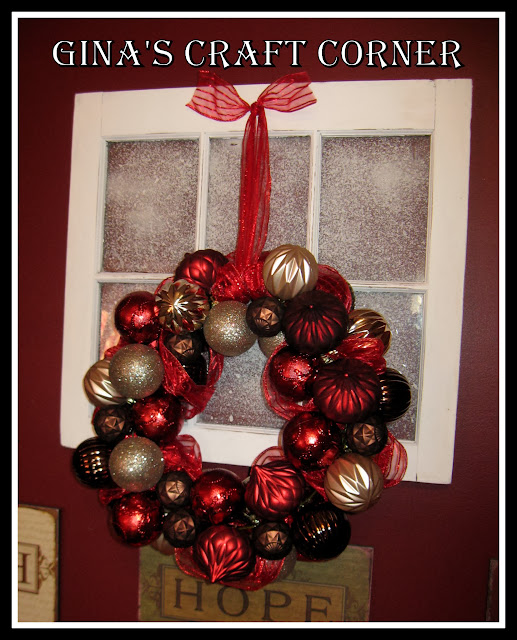 Make a Christmas Ball Wreath w/ a Coat Hanger-Gina's Craft Corner
